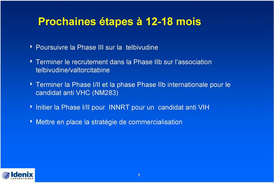 Phase I/II et la phase Phase IIb internationale pour le candidat anti VHC (NM283) 4 Initier