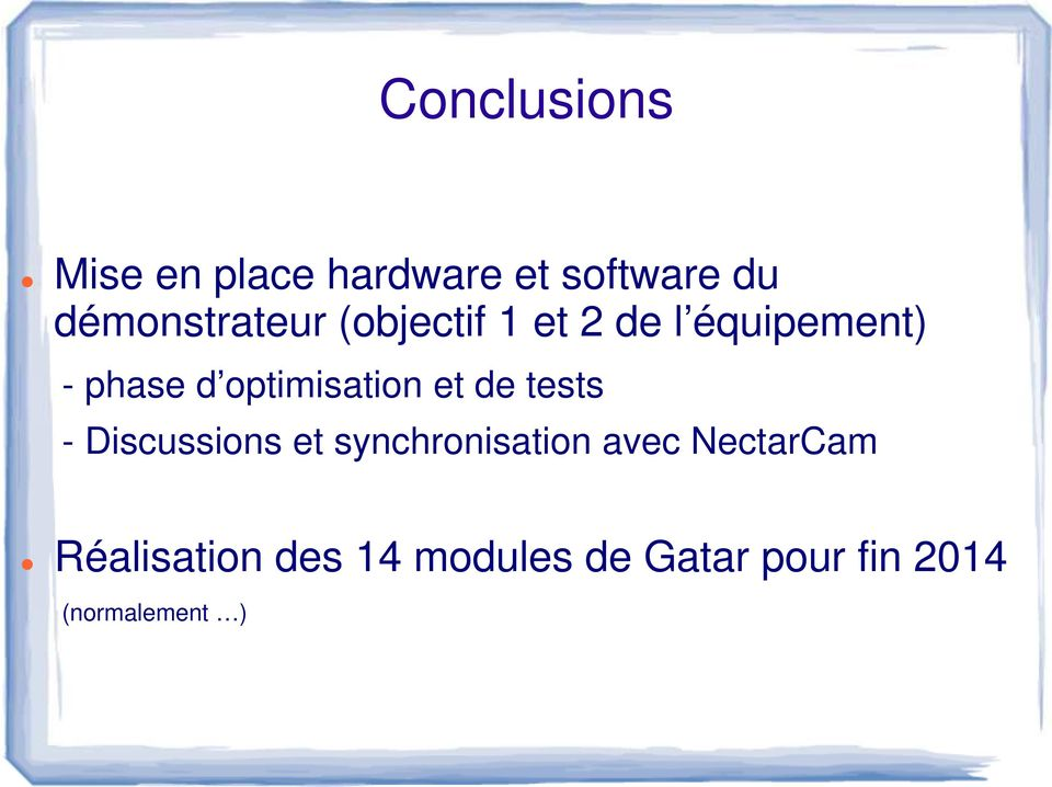 optimisation et de tests - Discussions et synchronisation