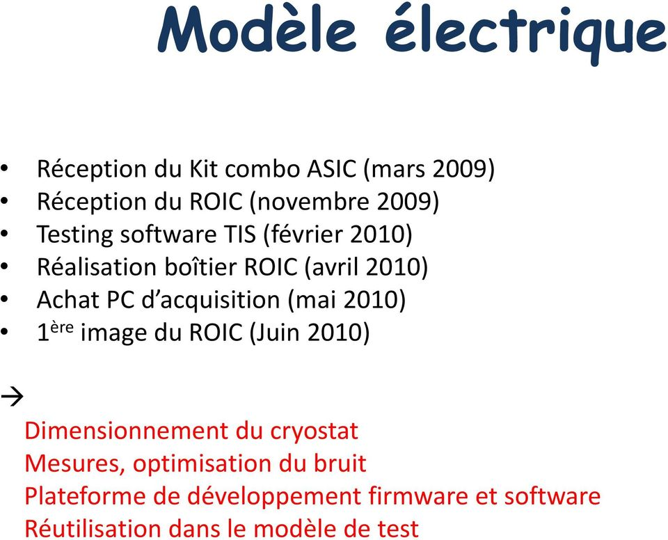 acquisition (mai 2010) 1 ère image du ROIC (Juin 2010) Dimensionnement du cryostat Mesures,