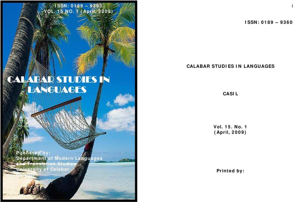 CALABAR STUDIES IN LANGUAGES CASIL Vol. 15. No.