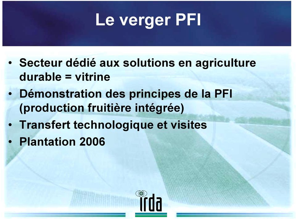 principes de la PFI (production fruitière