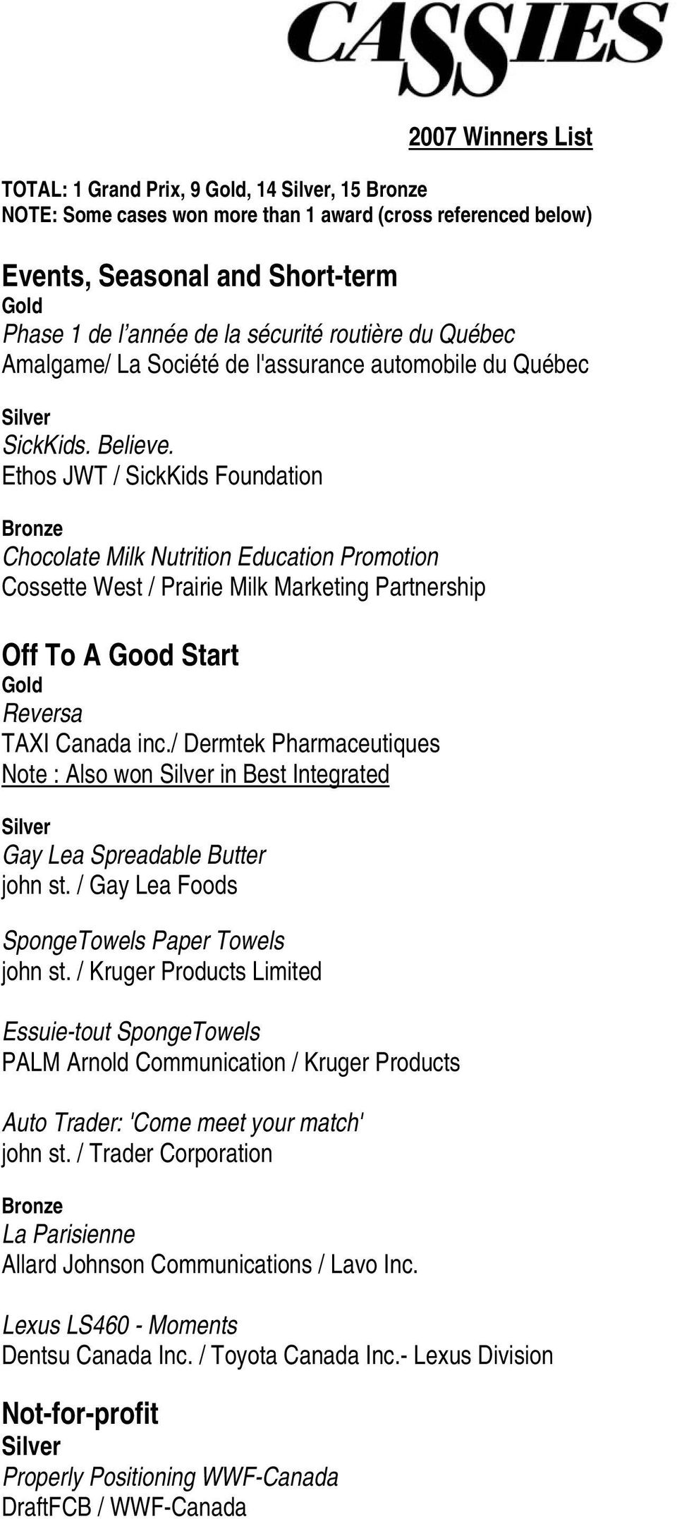 Ethos JWT / SickKids Foundation Chocolate Milk Nutrition Education Promotion Cossette West / Prairie Milk Marketing Partnership Off To A Good Start Reversa TAXI Canada inc.