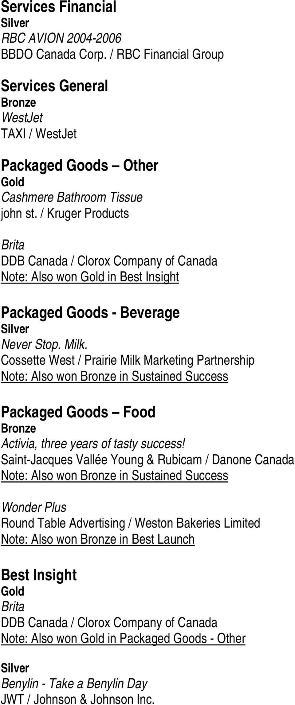 Cossette West / Prairie Milk Marketing Partnership Note: Also won in Sustained Success Packaged Goods Food Activia, three years of tasty success!