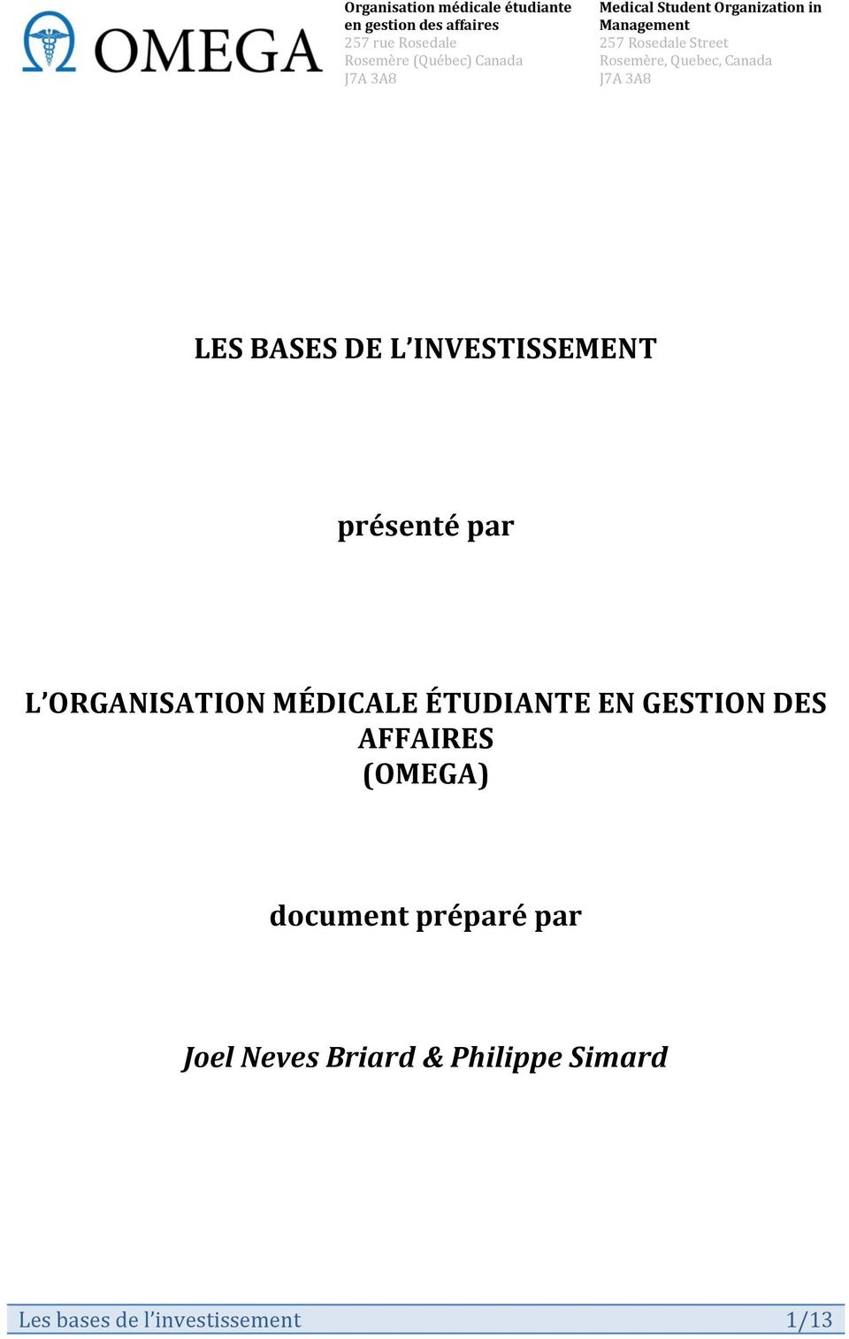 AFFAIRES (OMEGA) document préparé par Joel Neves