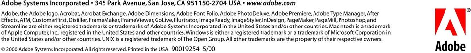 FrameMaker, FrameViewer, GoLive, Illustrator, ImageReady, ImageStyler, InDesign, PageMaker, PageMill, Photoshop, and Streamline are either registered trademarks or trademarks of Adobe Systems