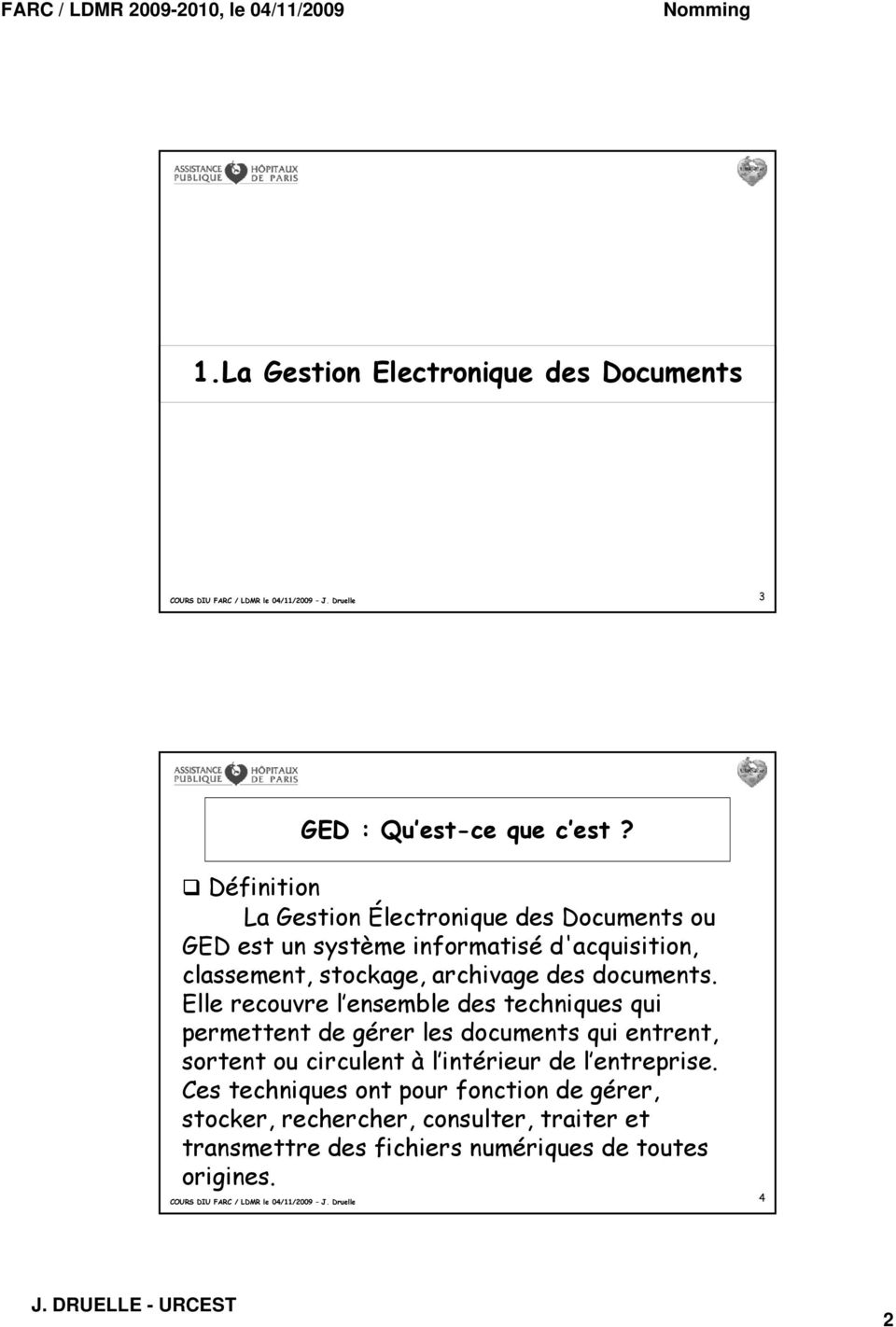 archivage des documents.