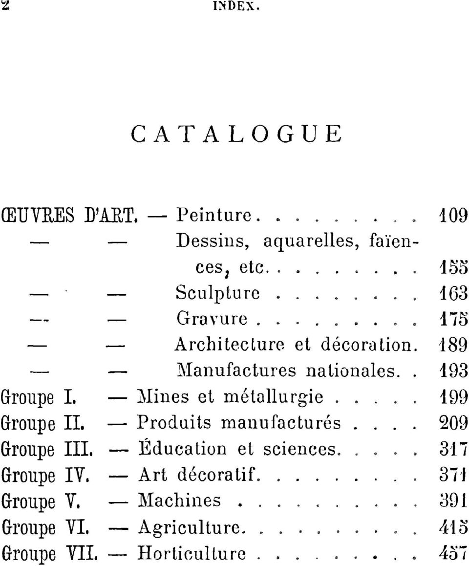 189 Manufactures nationales. 193 Groupe I.