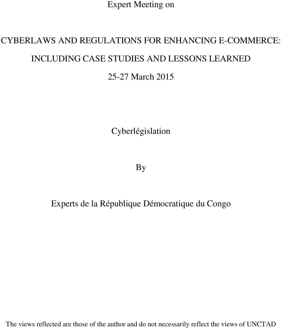 Cyberlégislation By Experts de la République Démocratique du Congo The