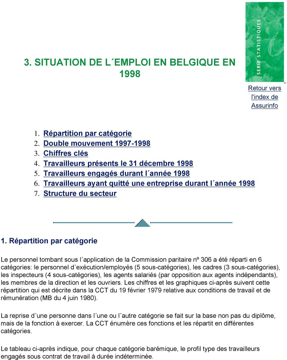 Répartition par catégorie Le personnel tombant sous l application de la Commission paritaire nº 306 a été réparti en 6 catégories: le personnel d exécution/employés (5 sous-catégories), les cadres (3