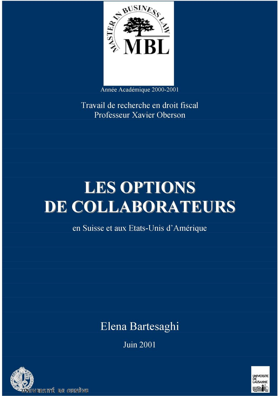Oberson LES OPTIONS DE COLLABORATEURS en