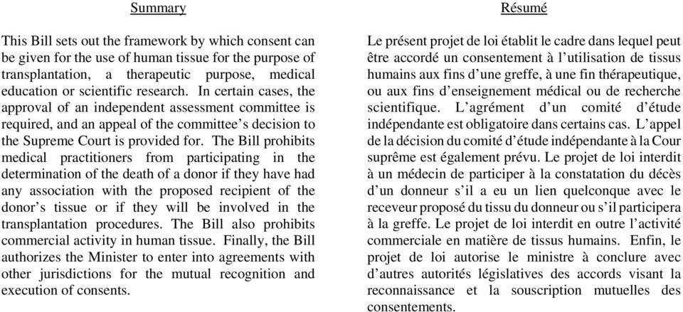The Bill prohibits medical practitioners from participating in the determination of the death of a donor if they have had any association with the proposed recipient of the donor s tissue or if they