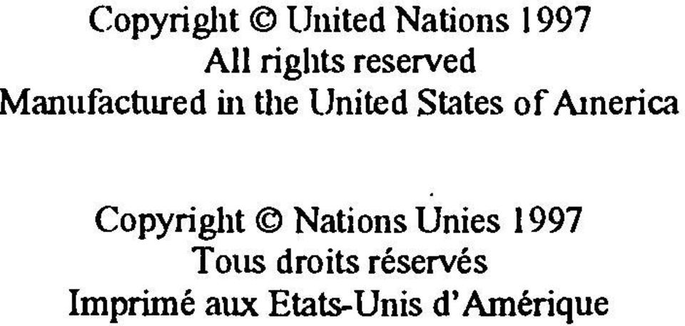 of America Copyright Nations Unies 1997 Tons