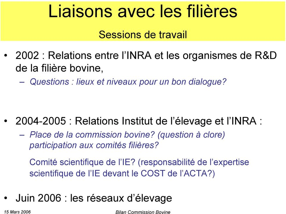 2004-2005 : Relations Institut de l élevage et l INRA : Place de la commission bovine?