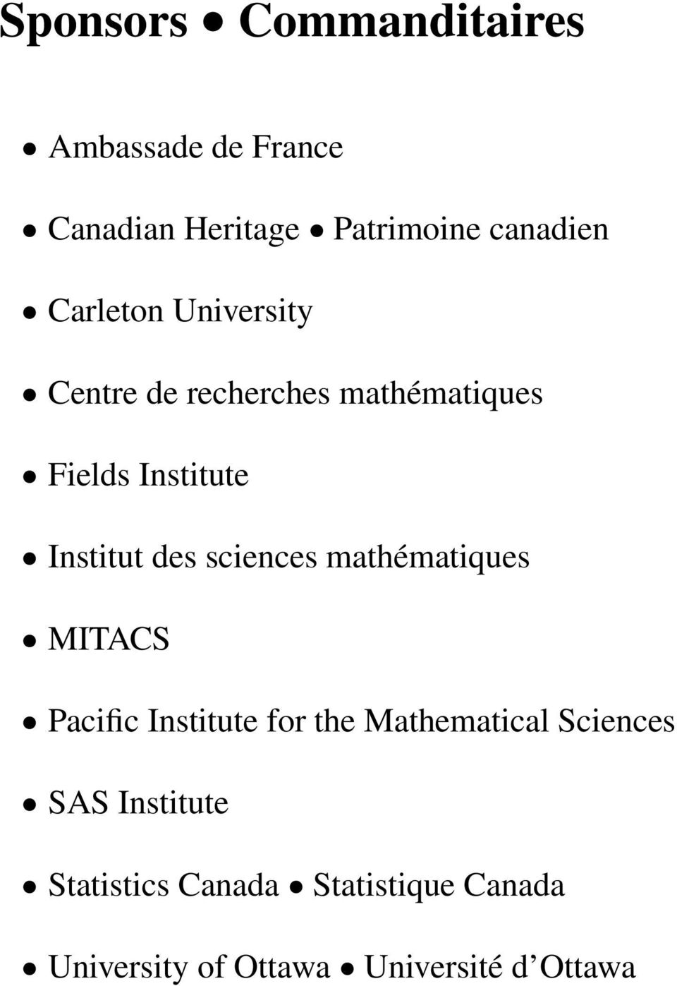des sciences mathématiques MITACS Pacific Institute for the Mathematical Sciences