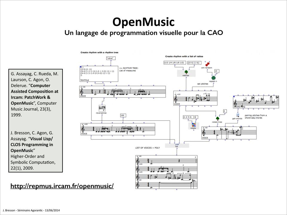Computer Assisted Composi'on at Ircam: PatchWork & OpenMusic, Computer Music Journal, 23(3),
