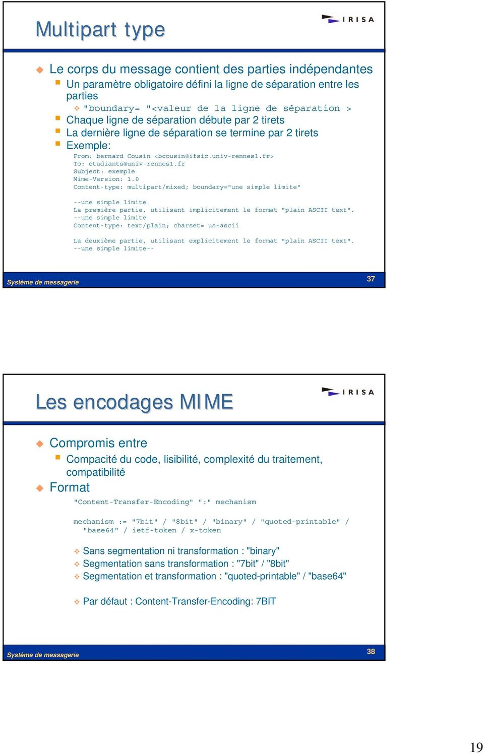 "fr Subject: exemple Mime-Version: 1.0 Content-type: multipart/mixed; boundary=""une simple limite"" --une simple limite La première partie, utilisant implicitement le format ""plain ASCII text""."