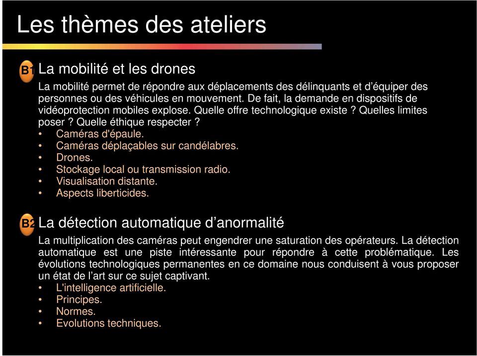 Caméras déplaçables sur candélabres. Drones. Stockage local ou transmission radio. Visualisation distante. Aspects liberticides.