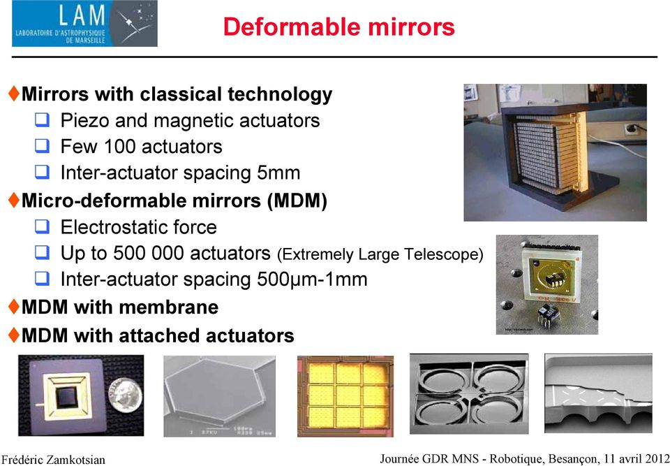 mirrors (MDM) Electrostatic force Up to 500 000 actuators (Extremely Large