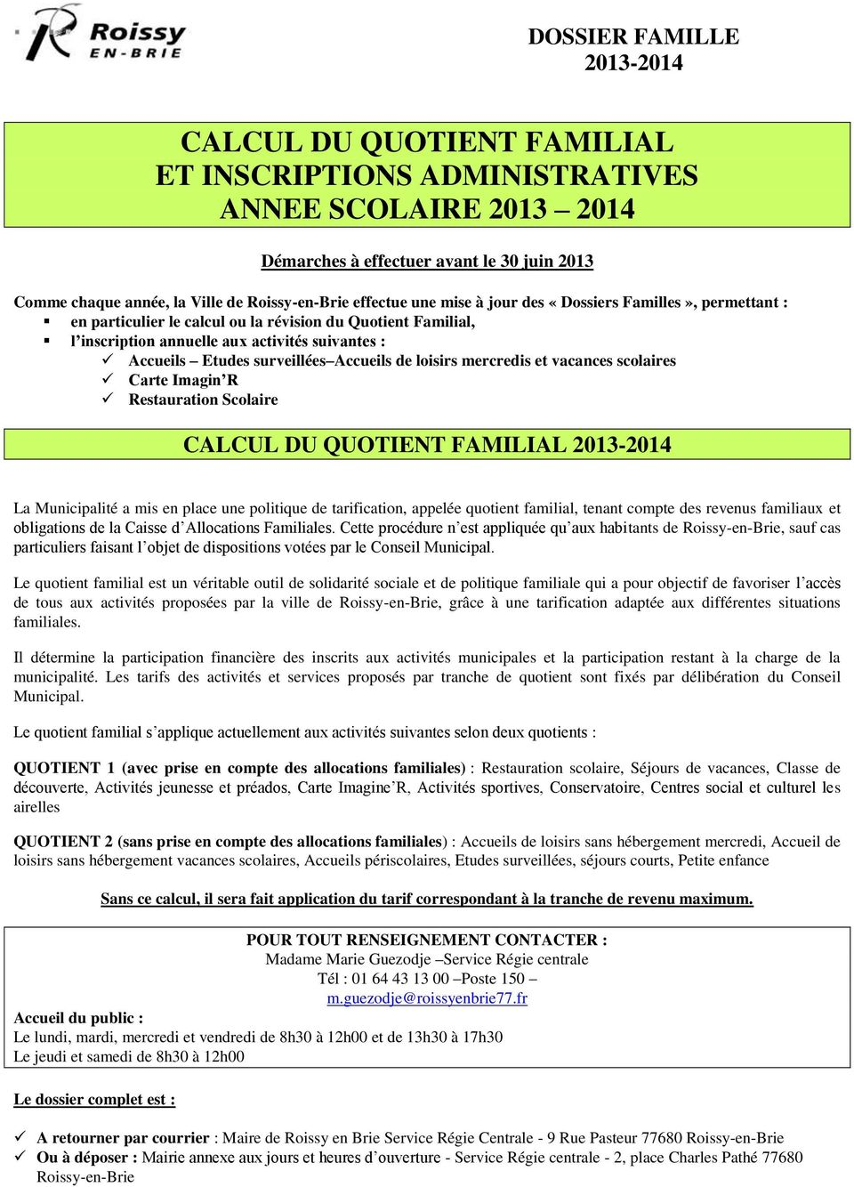 Calcul Du Quotient Familial Et Inscriptions Administratives Annee