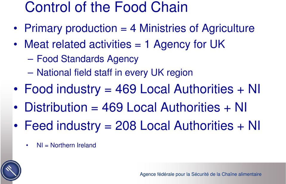 in every UK region Food industry = 469 Local Authorities + NI Distribution = 469