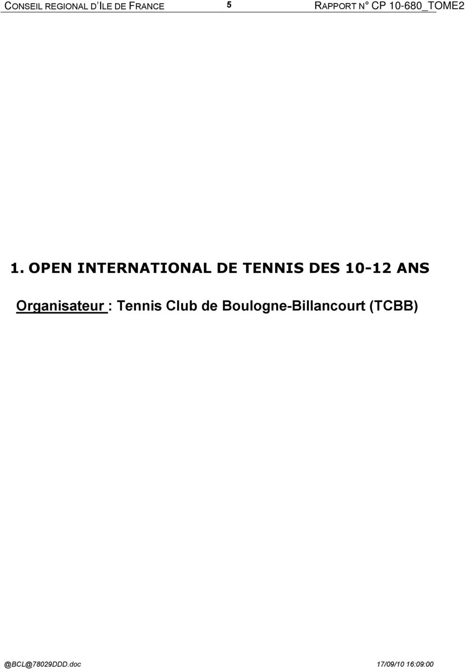 OPEN INTERNATIONAL DE TENNIS DES 10-12 ANS