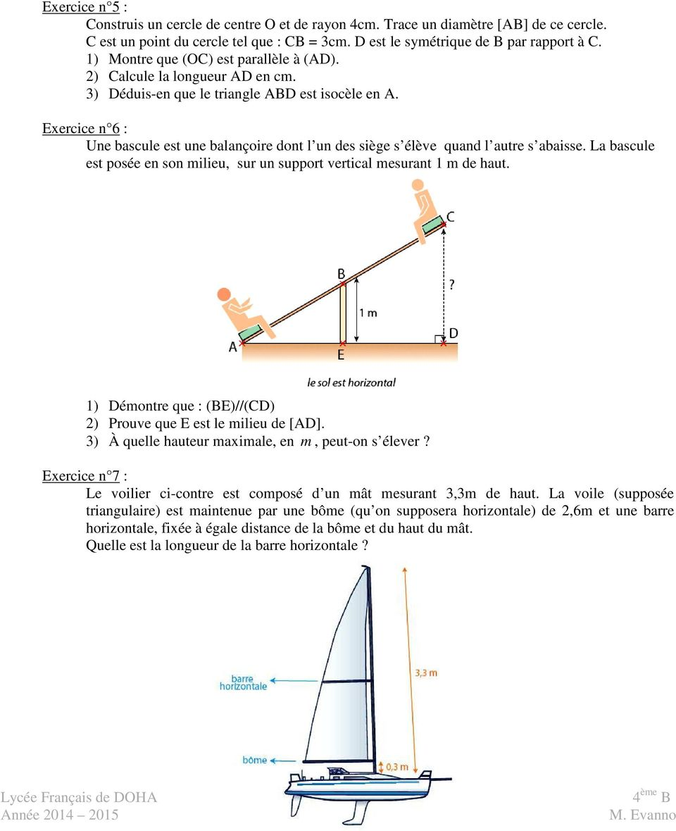 maths thales exercices