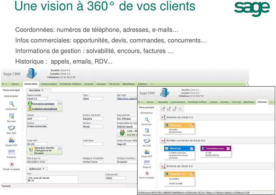 opportunités, devis, commandes, concurrents Informations de