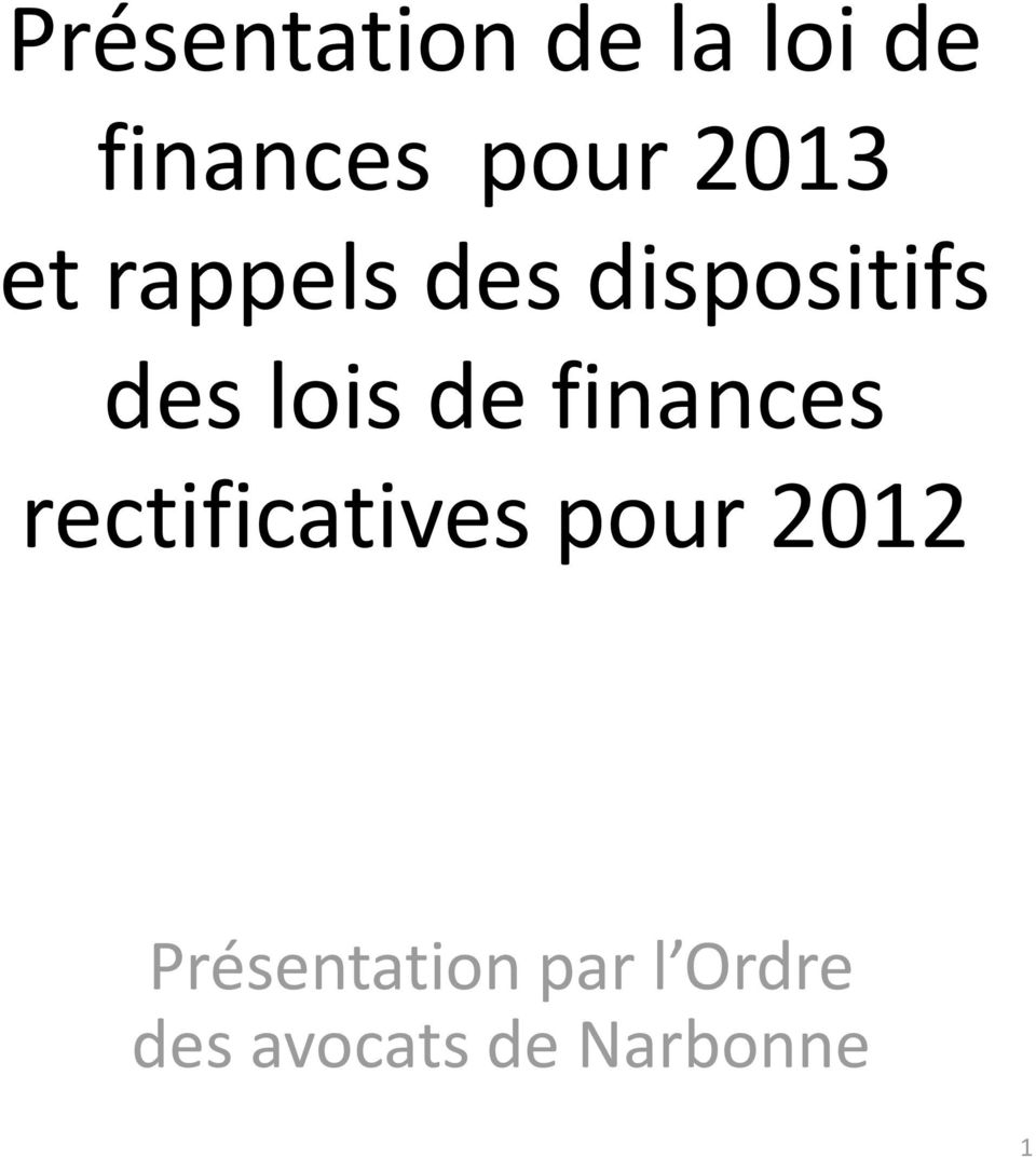 de finances rectificatives pour 2012