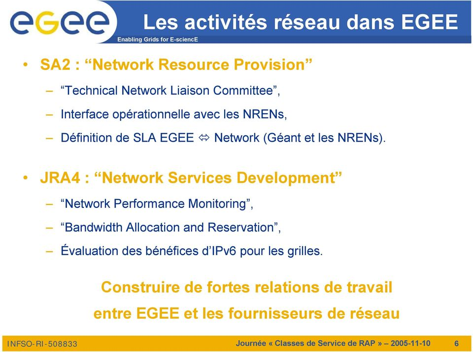 JRA4 : Network Services Development Network Performance Monitoring, Bandwidth Allocation and Reservation, Évaluation des