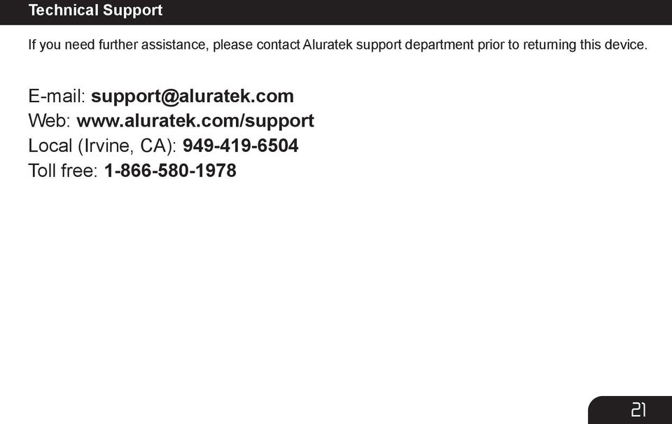 device. E-mail: support@aluratek.