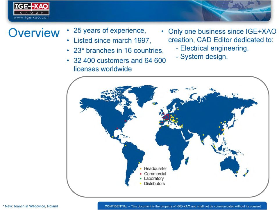 worldwide Only one business since IGE+XAO creation, CAD Editor