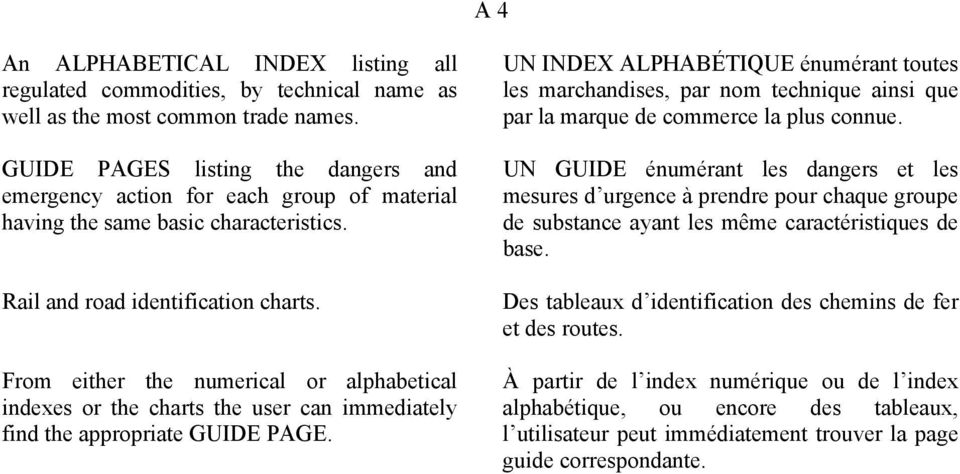 From either the numerical or alphabetical indexes or the charts the user can immediately find the appropriate GUIDE PAGE.