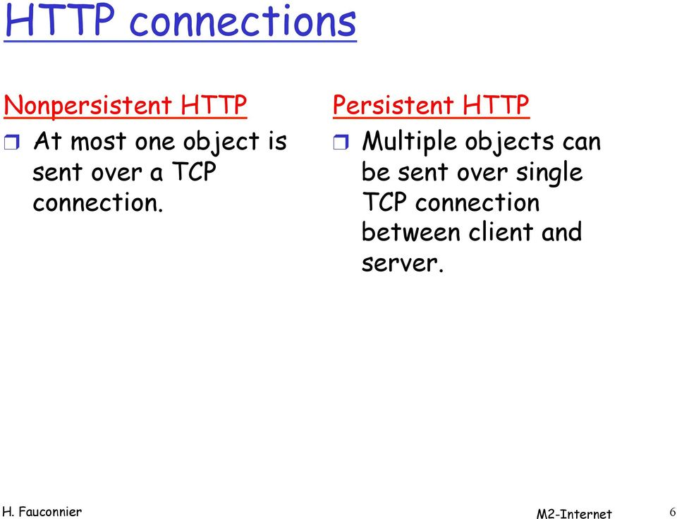 Persistent HTTP Multiple objects can be sent over