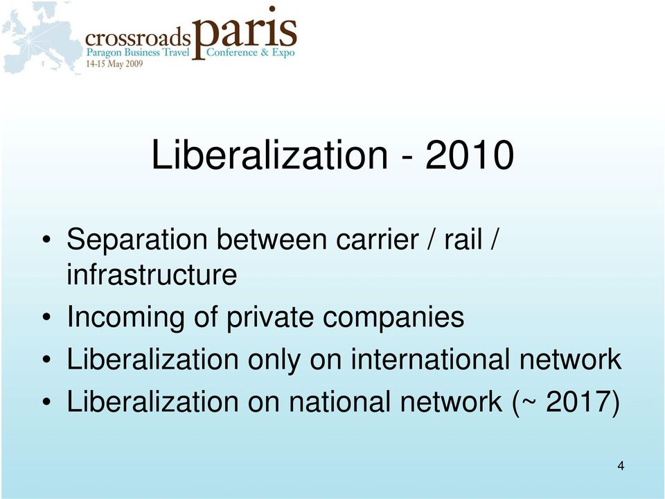 companies Liberalization only on international