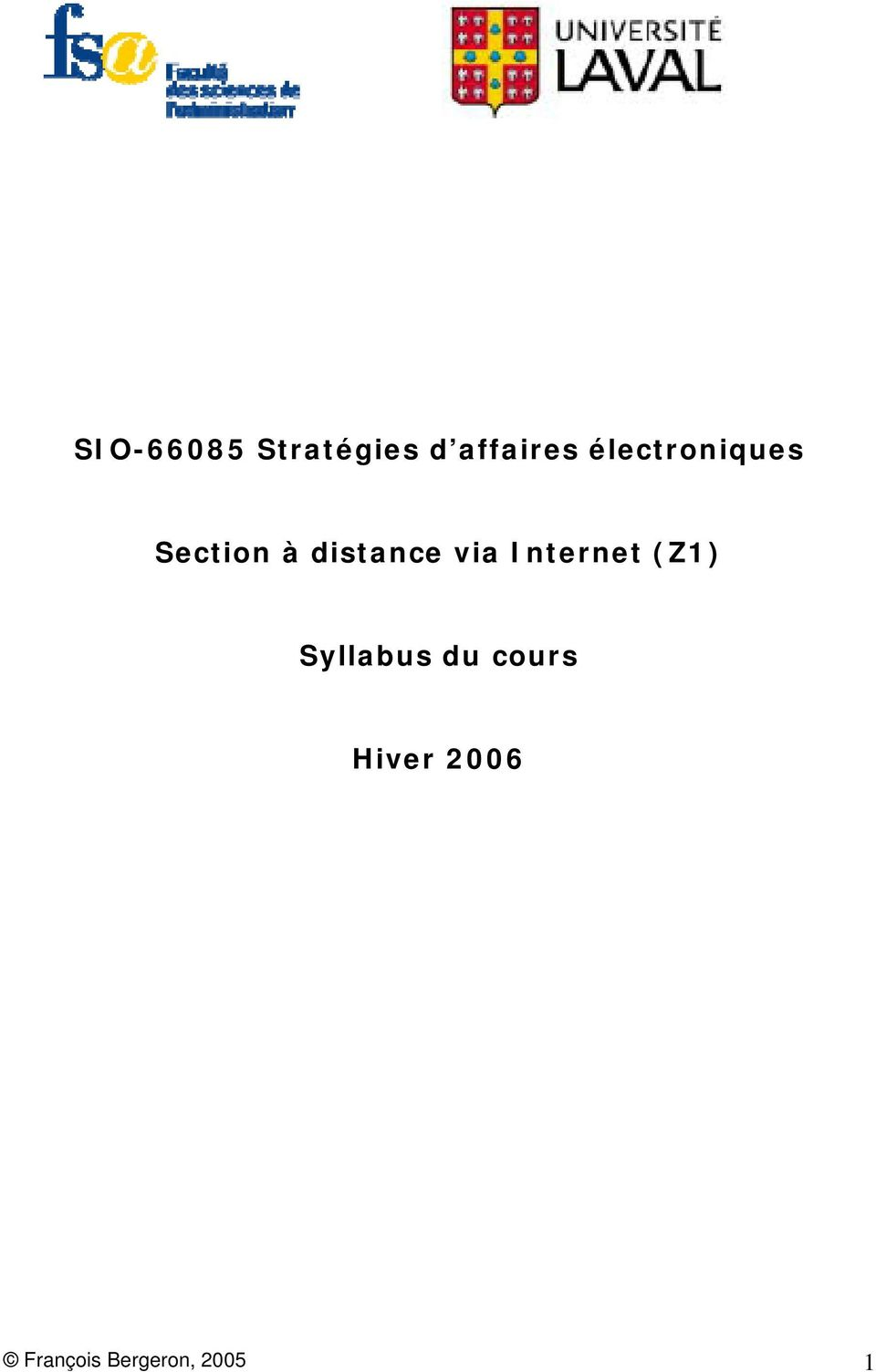 via Internet (Z1) Syllabus du