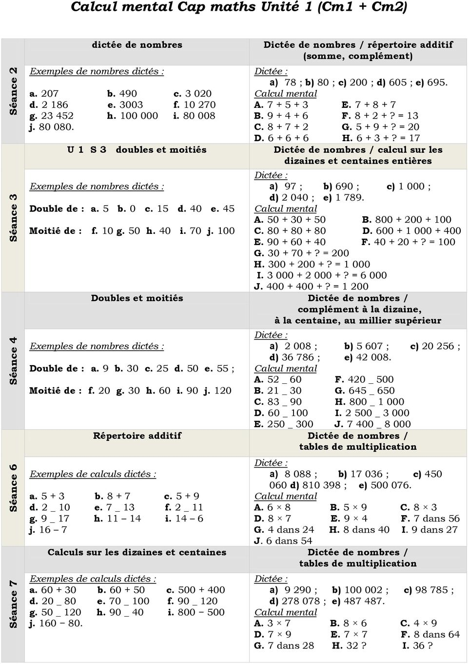 Calcul mental cap maths unit 1 cm1 cm2 pdf - Calcul mental table de multiplication ...