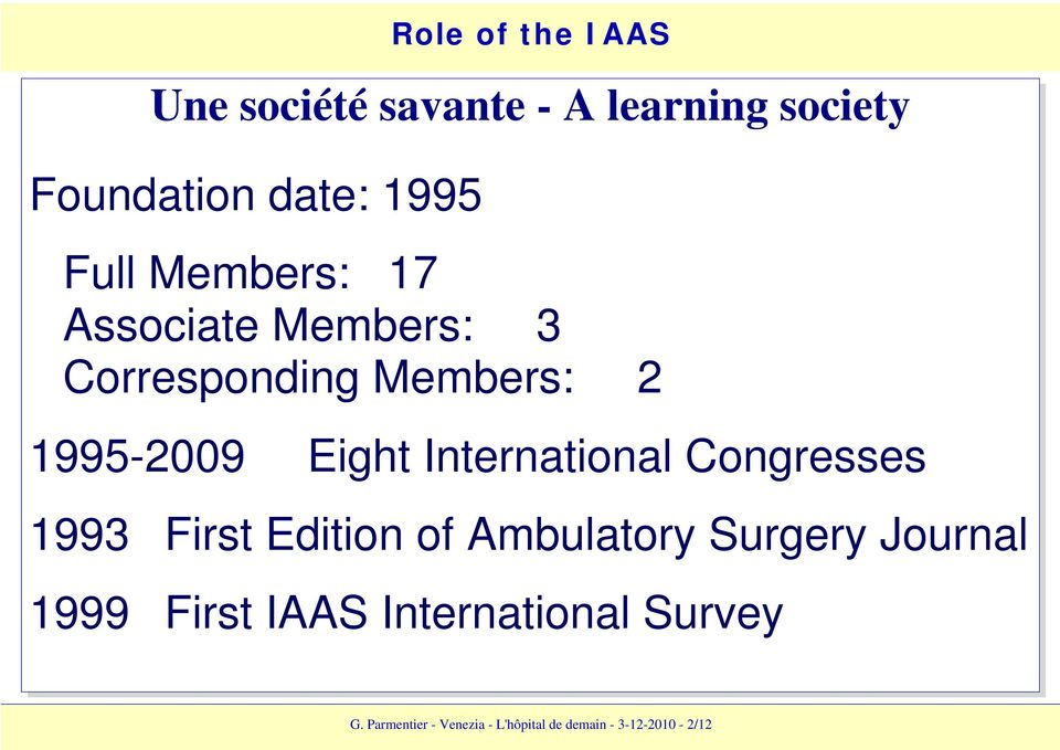 Congresses 1993 First Edition of Ambulatory Surgery Journal 1999 First IAAS