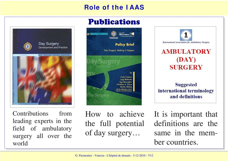 potential of day surgery It is important that definitions are the same