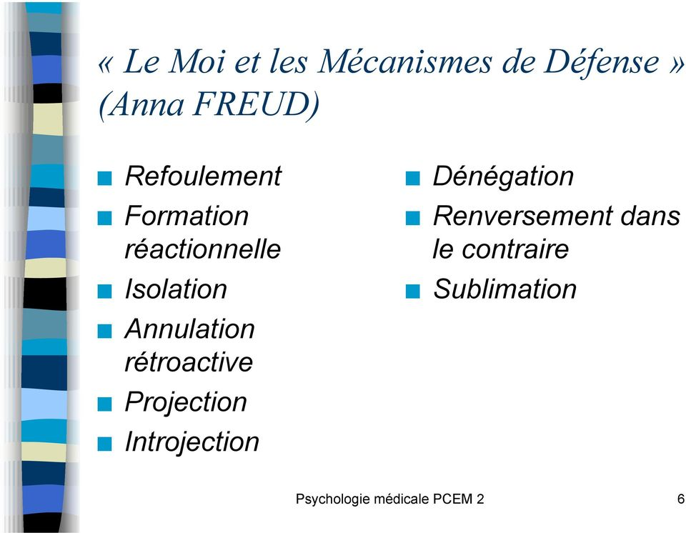 Annulation rétroactive! Projection! Introjection!