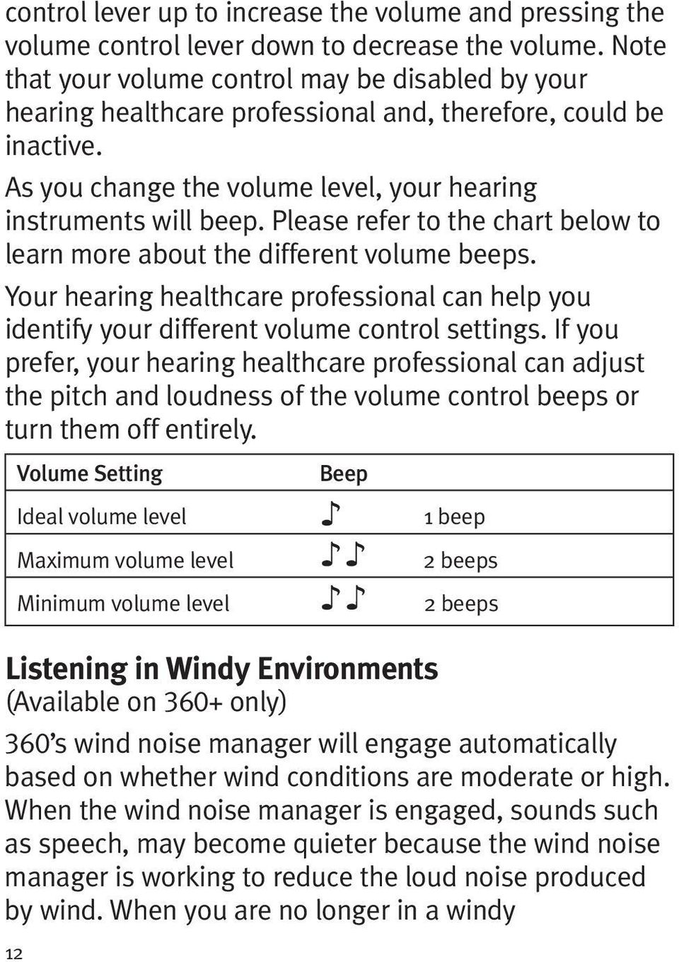 Please refer to the chart below to learn more about the different volume beeps. Your hearing healthcare professional can help you identify your different volume control settings.