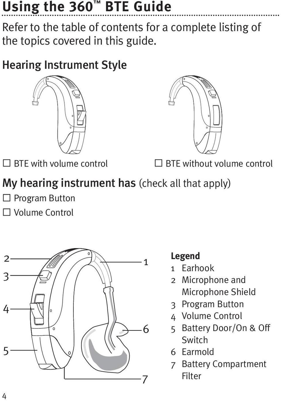Hearing Instrument Style BTE with volume control BTE without volume control My hearing instrument has (check