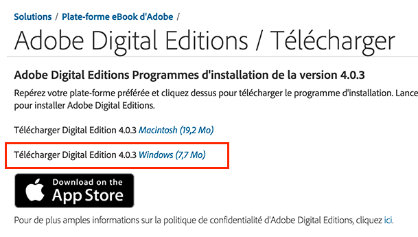 2. Installer sur votre ordinateur Adobe Digital Editions (Windows 7,8 et 10) 2.1 Rendez-vous au http://www.adobe.com/ca_fr/solutions/ebook/digital-editions/download.html 2.