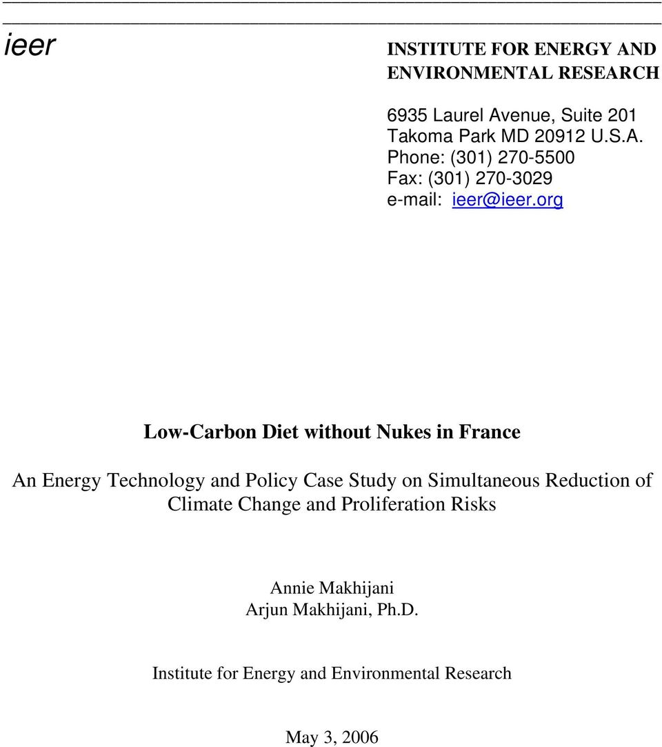 org Low-Carbon Diet without Nukes in France An Energy Technology and Policy Case Study on Simultaneous