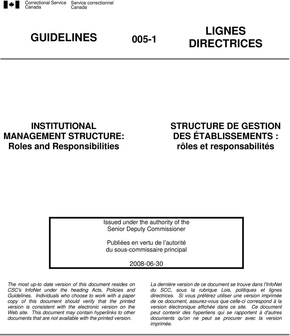 Guidelines. Individuals who choose to work with a paper copy of this document should verify that the printed version is consistent with the electronic version on the Web site.