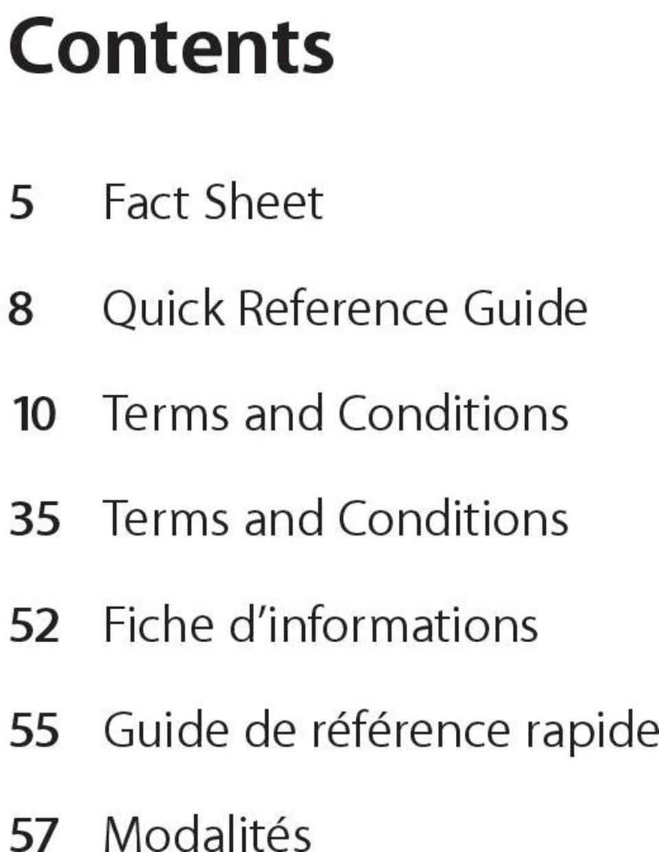 and Conditions 52 Fiche d informations