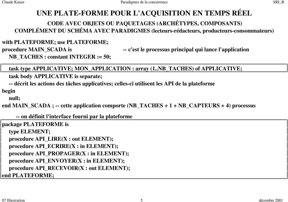 .NB_TACHES) of APPLICATIVE; task body APPLICATIVE is separate; -- décrit les actions des tâches applicatives; celles-ci utilisent les API de la plateforme begin null; end MAIN_SCADA ; -- cette