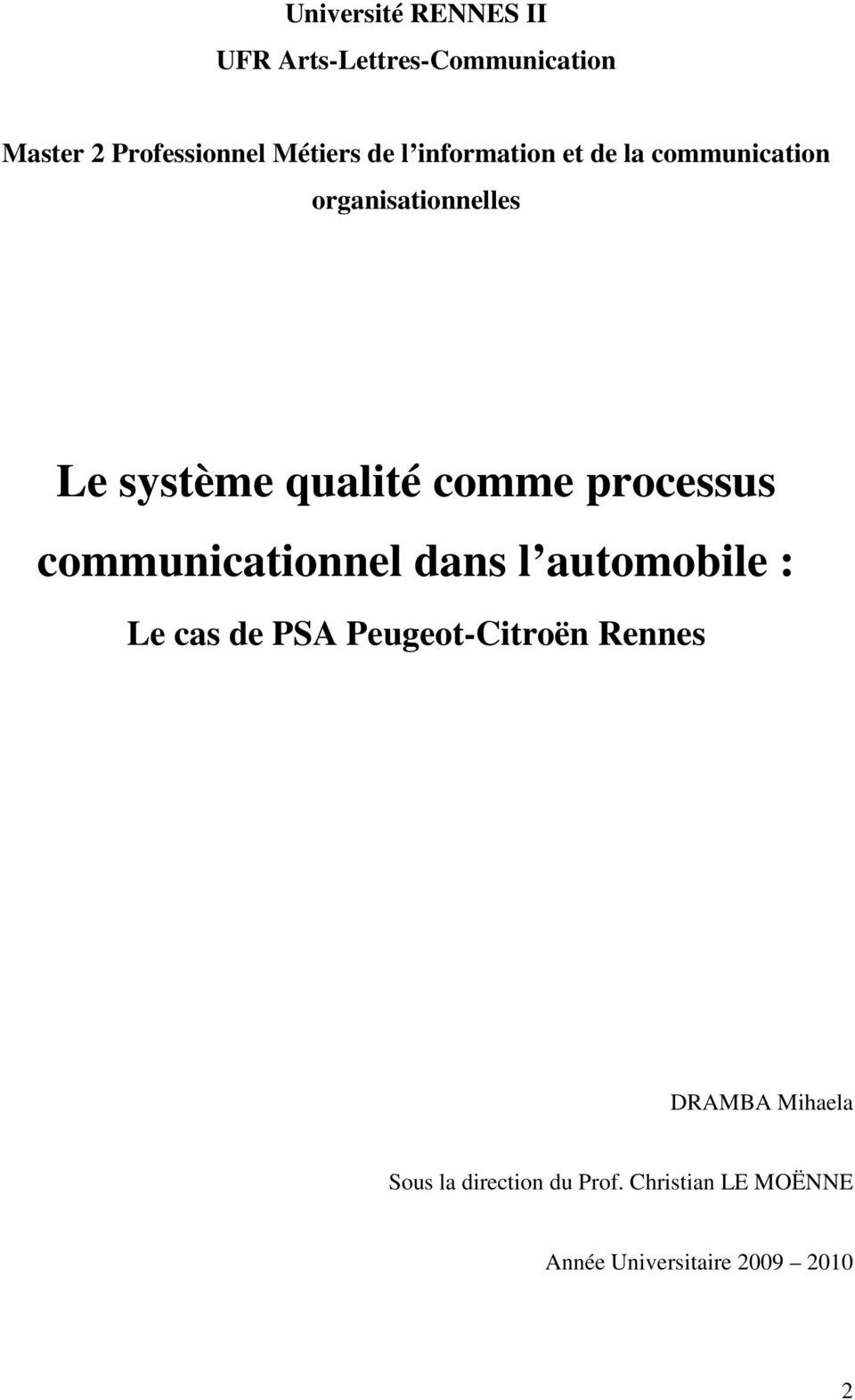 processus communicationnel dans l automobile : Le cas de PSA Peugeot-Citroën Rennes