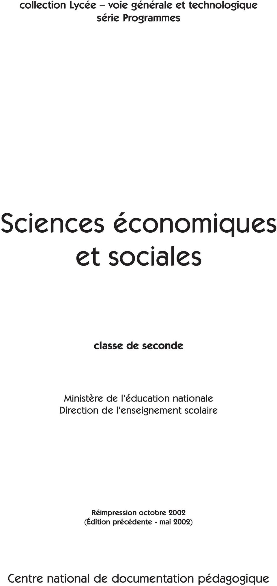 éducation nationale Direction de l enseignement scolaire Réimpression