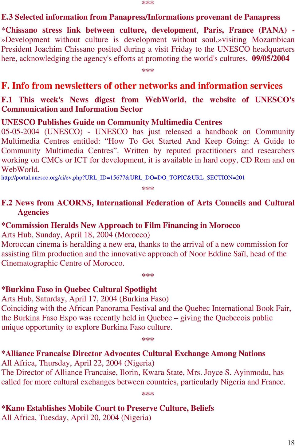 09/05/2004 F. Info from newsletters of other networks and information services F.