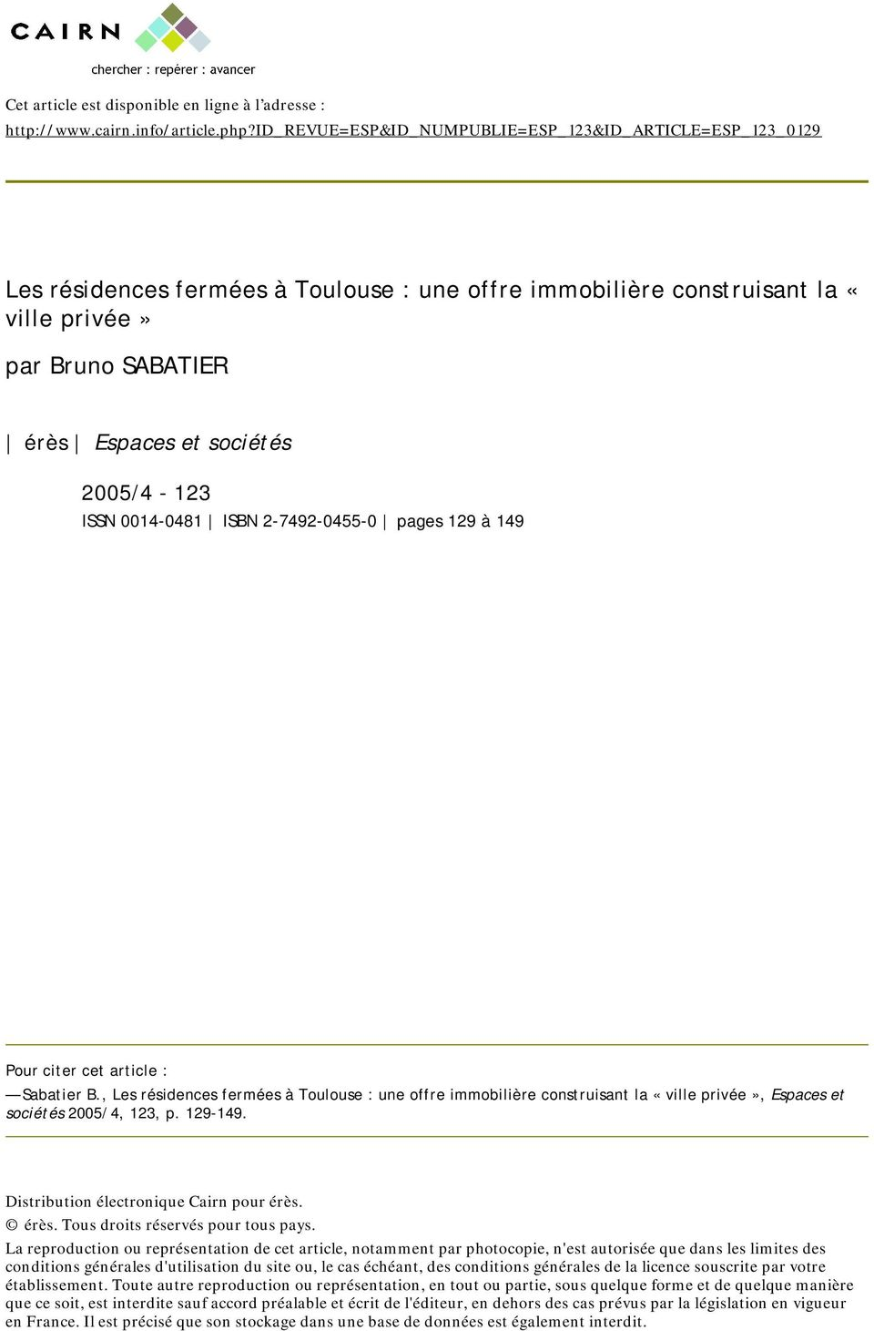 2005/4-123 ISSN 0014-0481 ISBN 2-7492-0455-0 pages 129 à 149 Pour citer cet article : Sabatier B.